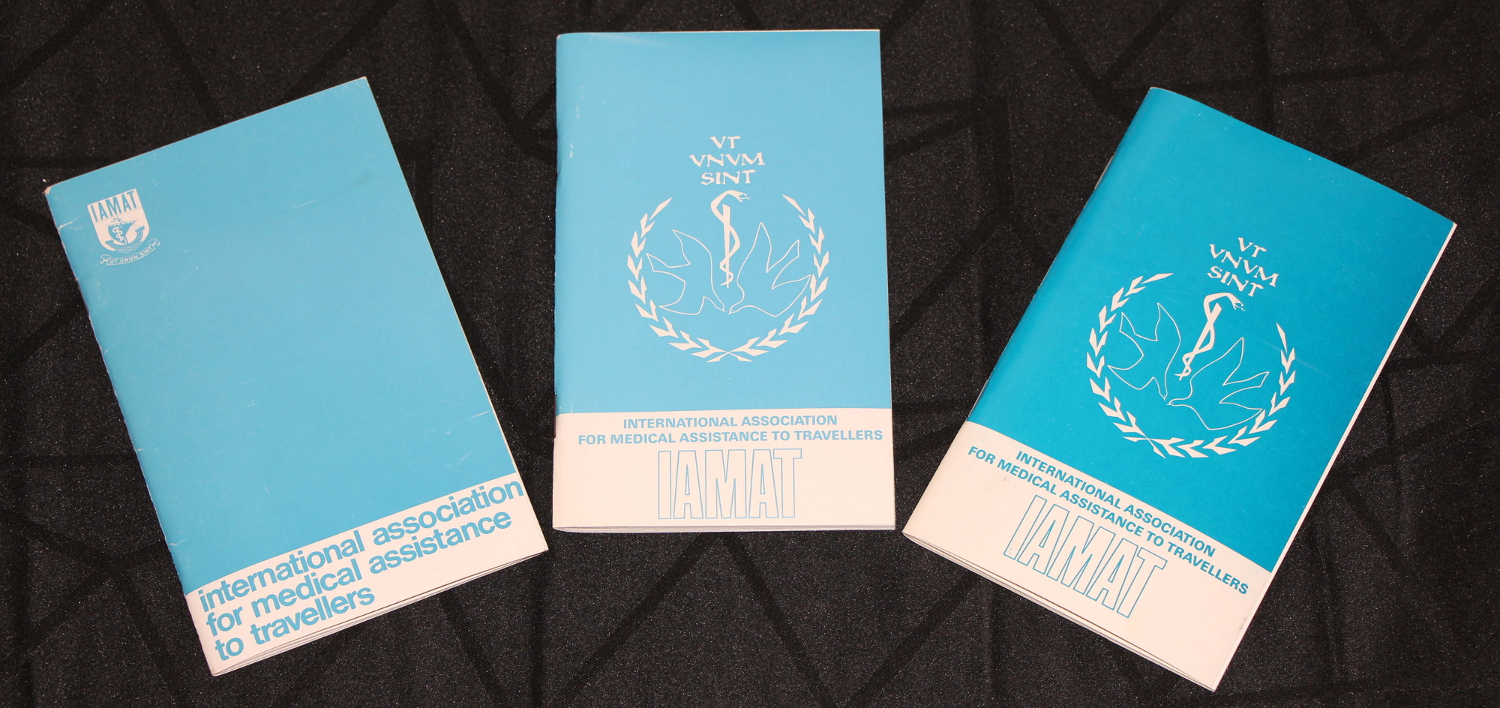 The evolution of the IAMAT Medical Directory. From left to right: pre-1972, 1973, and 1982.