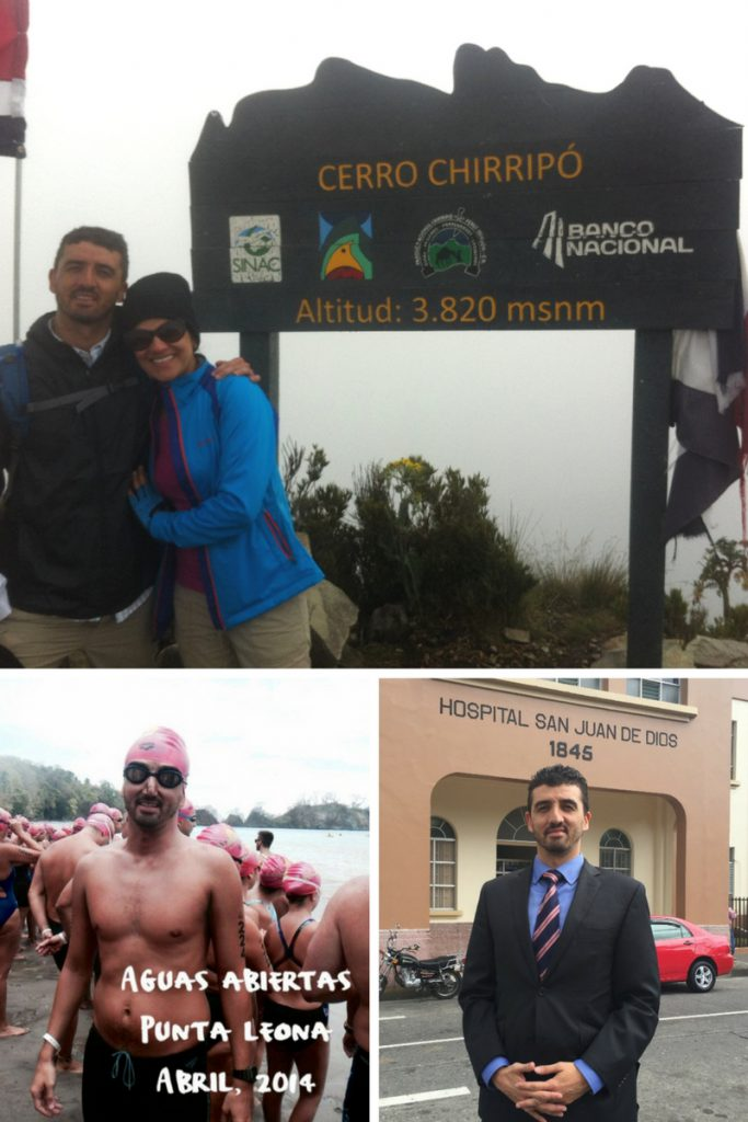 Clockwise from top: Manuel and his wife climbing Chirripo Mountain; Manuel at Hospital San Juan de Dios where he works in infectious diseases; Manuel at an open water swimming event.