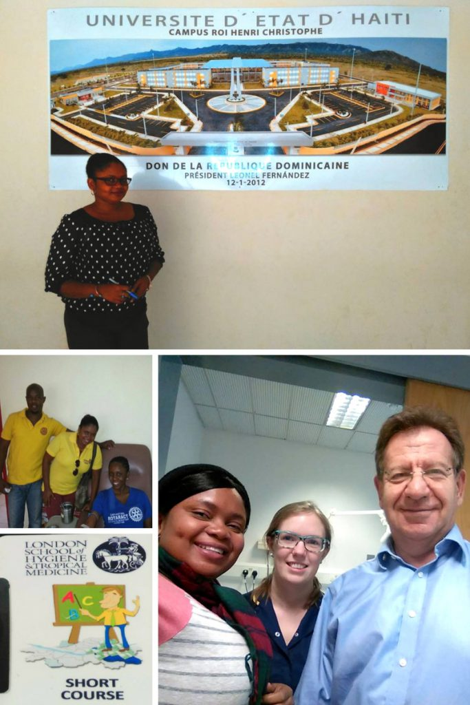 Clockwise from top: Weedgina at the university where she teaches; Weedgina with Dr. Ron Behrens and nurse Angela at the Hospital for Tropical Diseases in London; Weedgina's student badge at the LSHTM; Weedgina at a blood donation event with her Rotaract Club.