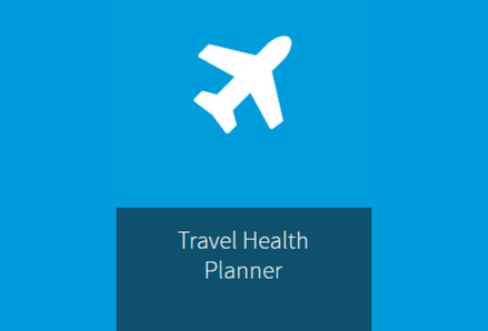 Travel Health Planner button with airplane