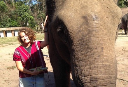Jacqueline with an elephant
