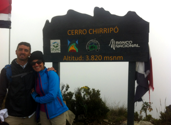 Manuel Villalobos and his wife at the summit of Cerro Chirripo